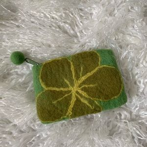 Anthropologie green wool pouch